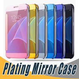 Wholesale Leather Chrome Flip Case - For Samsung S8 Luxury Plating Mirror Leather Case Clear Screen Window View Chrome Flip Electroplate Phone Cases Cover For Galaxy S7 S6 edge