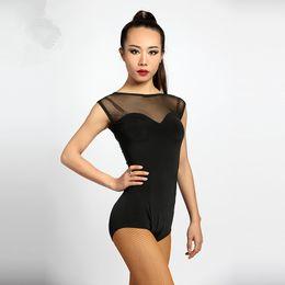 Wholesale Modern Woman Coats - 2017 New Latin Dance Leotard sexy gauze coat adult Rumba Samba on the perspective of modern Tango Waltz T-shirt costume competition clothing