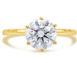Wholesale Round Cut Diamond Engagement Rings - 2 Round Cut Simulation Diamond Engagement Ring VS1 H 14K Yellow Gold