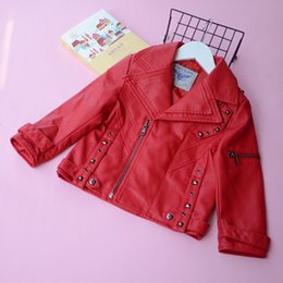 Wholesale Winter Jackets Down Plaid - Everweekend Kids Rivet Zipper Pu Leather Cute Baby Red and Silver Color Jacket Sweet Children Turn-down Collar Autumn Coat