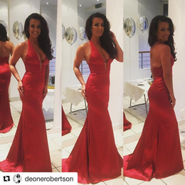 Wholesale Gold Silk Drapes - 2017 Sexy Halter Red Evening Dresses Deep V Neck Mermaid Sheer Back Floor Length Prom Gowns