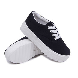 Wholesale High Heel Platform Sneakers - New Nice Spring Autumn Sports Shoes Casual Platform Fashion Sneakers Women Lace-up Canvas Shoes High Heels Women's Shoes