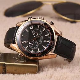 Wholesale Nice Automatic Watches - LUXURY NEW MENS WATCH STOPWATCH ORIGINAL CLASP QUARTZ DARK SIDE OF MOON ROSE GOLDEN CHRONOGRAPH NICE stainless steel free shipping watch men