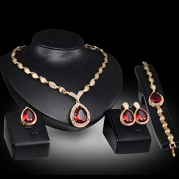 Wholesale Heart Necklace Red Rose - Red Gemstone Water Drop Necklace Earrings Rings Jewelry Sets Gold Chain Pendants Crystal Statement Jewelry Wedding Jewelry for Women Bride