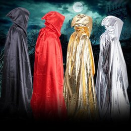 Wholesale Long Black Cape Hooded - Bright Cloth Cloak Halloween Adult Maxi Cape Costume Hooded Long Loose Cape Cosplay Stage costume Dead Man Wizard Witch Party Dress