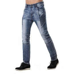 Wholesale Urban Motorcycles - Wholesale-2016 Men's Ripped Biker Jeans Washed Light Blue Denim Runway Slim New Distressed Fashion Motorcycle Hip Hop Urban Jeans ZY-1001