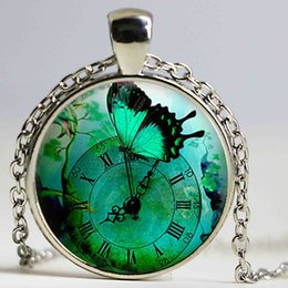 Wholesale Crystal Gift Clock - Green Butterfly Steampunk Clock Logo Pendant Necklace Gifts For Women Men Steampunk Jewelry Pendant Art Gifts