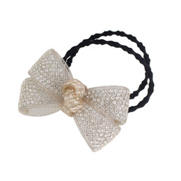Wholesale Multi Colored Elastic Bands - New Trendy Hair Jewelry Rhinestones Wrapped with Multi Colored Bow Tie Elastic Hair Rope for Women