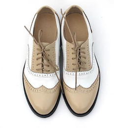 Wholesale Womens Vintage Heels - Wholesale- Spring Autumn Lace Up Casual Thick Heel Brogues Shoe Woman Oxford Shoes US Size 34-45 Vintage Genuine Leather Flats Womens