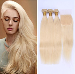 Wholesale Cheap Blonde Brazilian - 613 Blonde Virgin Hair 3Pcs Bundles with Clsoure Brazilian Virgin Straight Human Hair Weave Cheap Blonde Brazilian Hair Weave Bundles