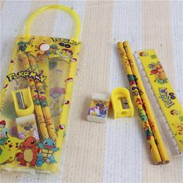 Wholesale Wholesale Boy Erasers - Poke pikachu stationery set bag case for kids cartoon pencil sharpener+eraser+2pencil+ruler+note book+clear pencil case bag for boys girls