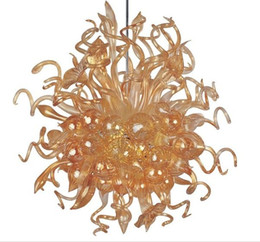 Wholesale Amber Champagne Glasses - AC DC Led Source 100% Hand Blown Borosilicate Glass Dale Chihuly Art Glossy Amber Chandelier Home Party Lighting
