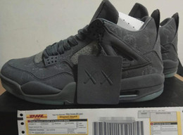 Wholesale Patent Color - New Arrival With Box Retro 4 Kaws Basketball Shoes Air IV Grey Color Glow Suede Shoes Best Quality In Market Size 41-47.5