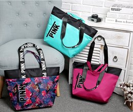Wholesale Green Light Travel - New Fashion 3 Colors Women VS Love Pink Shoulder Bags Handbags Large Capacity Travel Duffle Striped Waterproof Beach Bag Shoulder Bag