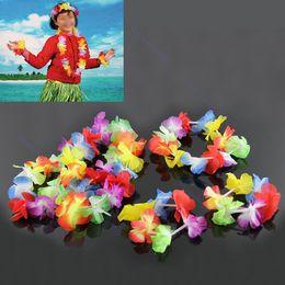Wholesale Calla Wedding Dress - Wholesale-4pcs Hawaiian Flower Necklace Lei Headband Anklet Fancy Dress Garland Beach Hula
