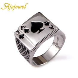 Wholesale Chunky Engagement Rings - Ajojewel Classic Cool Men's Jewelry Chunky Black Enamel Spades Poker Ring Men Silver Color