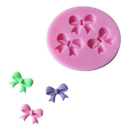 Wholesale Mould Cavity - 3 Cavities Bowknot Cake Craft Mold DIY Decorating Fondant Round Silicone Sugar Resin flowers Mould Molds For Cakes