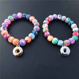 Wholesale Metal Handmade Jewelry - Kids 15cm Length Elastic Multicolor Clay Beads Handmade Noosa Chunks Metal Ginger 12mm Snap Button Bracelet Jewelry