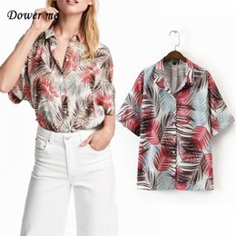 Wholesale Ladies Shirt Material - Fashion Polyester Material Fashion Ladies bat Sleeve Women Multi Colour Blouses Loose Lapel Neck leaf Print Shirt YN010