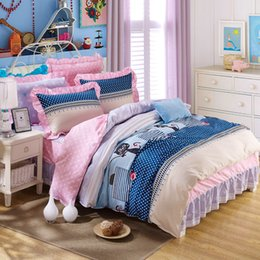 Wholesale pillowcase skirt - Wholesale- Free Shipping 100%cotton beautiful bedding set wholesale supply twin full queen king Girls like pillowcase duvet cover bed skirt