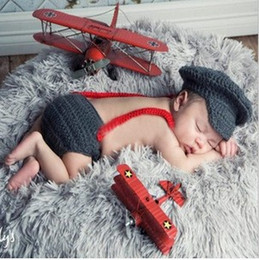 Wholesale Infant Autumn Wear - Newborn Baby Photography Props Hat Pant Clothing Set Infant Knit Crochet Costume Soft Outfits+Pants Baby Clothing Photo Wear