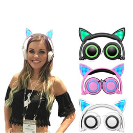 Wholesale Ear Headphones Folding - Cat Ear Headphone Children Wired Control Tie Sitting Folding Headphones Headset Wired Headset with Microphone Telephone