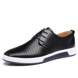 Wholesale new mens casual shoes oxford - New 2017 Summer Brand Casual Men Shoes Mens Flats Luxury Genuine Leather Shoes Man Breathing Holes Oxford Big Size Leisure Shoes