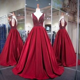 Wholesale Pageant Dresses Stones - Burgundy Ball Gowns Prom Dresses for Women Wear with Stones V Neck Floor Length Special Occasion Satin Sweet 16 Years for Pageant