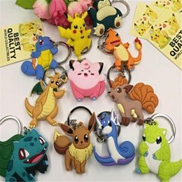 Wholesale Pokemon Sylveon Figure - Poke Figures Keychains Toys Kids Pikachu Sylveon Charmander Bulbasaur Jeni Turtle Keychains Keyring Backpack Pendant DHL Free