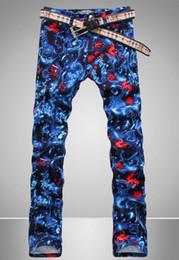 Deutschland Großhandels-England Non-Mainstream Painted Printing Mode wahre Jeans Männer berühmte Marke Mens Jeans Hosen Skinny Jeans Männer lange Hosen cheap england paint Versorgung