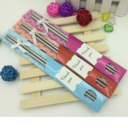 Wholesale Personalized Chopstick - Wedding Gift Stainless Steel Dining Chopsticks Can Personalize Tag Bridal Shower Favors Gifft + FREE SHIPPING WA1652