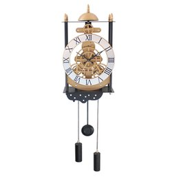 Wholesale Modern Style Decorating - Bird cage model gear pendulum clock fashion creative hanging pendulum clock European style living room decorate