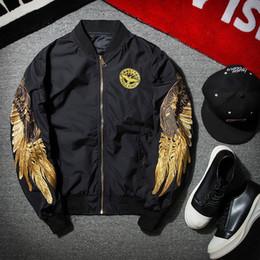 Wholesale Angels Butterflies - 2017 New Spring Black Angel Wing Embroidery Bomber Jacket Men Streetwear Brand-clothing