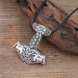 Wholesale New Arrival Necklace Unisex Silver - New Arrival Antique Silver Plated Pendant Necklace Viking Norse Stainless Steel Jewelry For Men