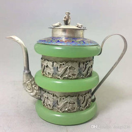 Wholesale Collectible Teapots - CHINESE TIBET SIVER HANDWORK DRAGON OLD GREEN JADE TEAPOT