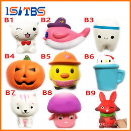 Wholesale Rubber Tv - DHL Squishy Toy miniature food tooth squishies Slow Rising 10cm 11cm 12cm 15cm Soft Squeeze Cute Cell Phone Strap gift Stress children toys