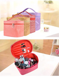 Wholesale Wholesale Leather Luggage - Wholesale professional Cosmetic Case bag large capacity portable Women Zipper Makeup cosmetic bags storage luggage travel bags TA190