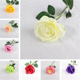 Rosas de seda à venda on-line-Venda quente simulação rose flower Home decoração Arranjo de flores 11 cores pano de algodão grosso flor De Seda IA868