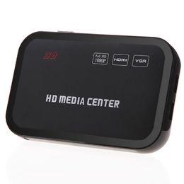 Hdmi avi en Ligne-Gros- HD 1080P Media Player Centre RM / RMVB / AVI / MPEG Multi Media Video Player avec HDMI YPbPr VGA AV USB SD / MMC Port Télécommande