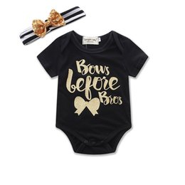 Wholesale Tutu Rompers For Girls - New 2017 Children Girls Rompers Jumpsuits Short Long Sleeve Letter Printed Romper With Striped Bow Headband 2pcs Set Black For Girl A7163