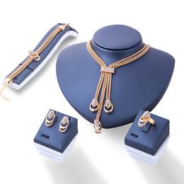 Wholesale Gold Necklace Patterns Women - Fashionable Golden Geometry Pattern Zircon Necklace Bracelet Earrings Rings Wedding Jewelry Set for Women by Hcish Jewelry NJ031