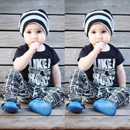 Wholesale Tops Boys Clothing Kids - Ins Boys Clothing Sets Baby Letters Glass Stripes Fashion Suits Infant Casual Outfits Kids Ins Tops & Shorts 1-5T LG2017