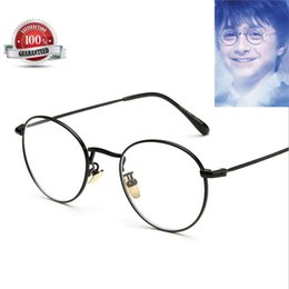 Wholesale Mirror Alloy Rims - Vintage Harry Potter Glasses Round Eyeglass Frames Halloween Cosplay Harry Potter Black Gold Silver Plain Mirror Glasses gls002