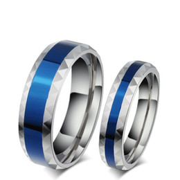 Wholesale Titanium Band Ring Blue - 316L Stainless Steel Finger Rings men wedding band jewelry blue 4mm Woman's titanium steel rings for lover Blue Stainless ring