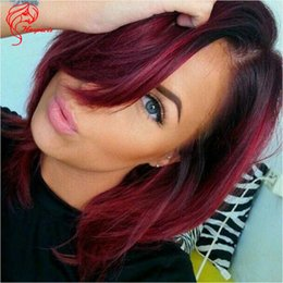 Wholesale 99j Lace Fronts - Virgin Brazilian Human Hair 1b 99J Ombre Red Color Lace Front Wigs 8-14 Inch Short Bob Cut Full Lace Wigs
