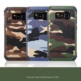 funda protectora de camo iphone Rebajas Carcasa protectora para teléfono celular anti-shock PC + TPU con camo camuflaje del ejército carcasa del teléfono para iphone7 7plus 6 6s más 5S Samsung Galaxy S8 PLUS