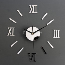 Wholesale Watches Mirrors Wall - Wholesale- Silver DIY 3D Roman Numbers Watch Clock Home Decor Mirror Face Wall Sticker