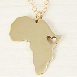 Wholesale Link Lead - African Map Hollow Heart Necklace For Women Men Lead Free Ethiopian Hiphop Personalized Jewelry Gift Trendy Map Necklaces