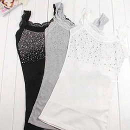 Wholesale Tank Tops Rhinestones - Wholesale- Women's Rhinestone Lace Stunning Based Sleeveless Vest Tank Top Tee T-Shirt Black White Gray A1250