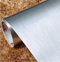 Wholesale Self Adhesive Foil Paper - Wholesale-PVC Self adhesive Wallpaper Silver Brushed Stainless Steel Household Appliance Stickers Vinyl Furniture Film For Home Decoration